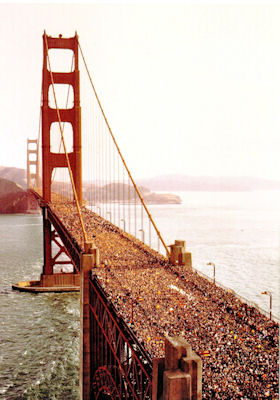Golden Gate Bridge filled with people